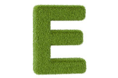 Green letter E from grass, 3D rendering Stock Images