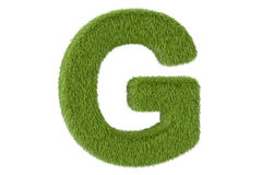 Green letter G from grass closeup, 3D rendering Royalty Free Stock Images