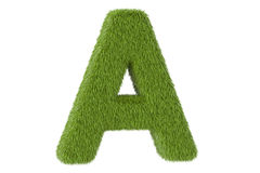 Green letter A from grass, 3D rendering Royalty Free Stock Photos