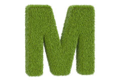 Green letter M from grass, 3D rendering Royalty Free Stock Image