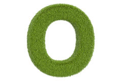 Green letter O from grass closeup, 3D rendering Royalty Free Stock Image