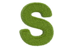 Green letter S from grass, 3D rendering Stock Images
