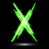 Green letter X on a black background. Raster Stock Image