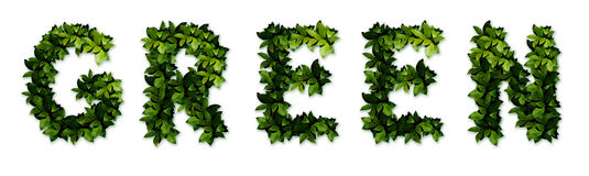 Green letters. In the english alphabet. The alphabet letters from the leaves Royalty Free Stock Photography