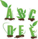 Green Letters A B C D E F stock photography