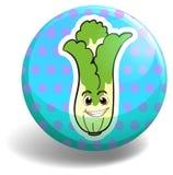 Green lettuce on blue badge Stock Photo