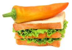 Green Lettuce in a bread with banana chilli Stock Photography