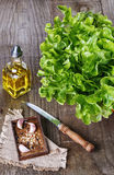 Green lettuce and spices on rustic wooden background Stock Images