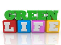 Green life concept on colorful cubes on white background. In background stock illustration