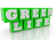 Green life concept on toy cubes. In backgrounds Stock Illustration