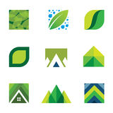 Green life creative logo set construction better life icons  Royalty Free Stock Images