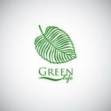 Green life doodle leaf like logo icon Stock Image