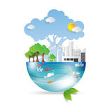 Green life with eco concept. Green life with eco and environment concept.Ocean and wildlife conservation idea in paper art style on white background.Vector Stock Illustration