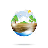 Green life with eco and environment concept. Eco city conservation idea in paper art style.Vector illustration Royalty Free Stock Images