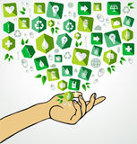 Green life human hand recycle flat icons Stock Photos