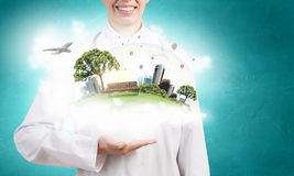 Green life in our hands Royalty Free Stock Image