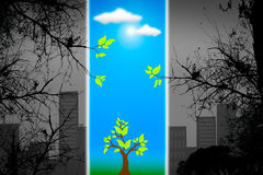 Green life vs. pollution. Green life vs. pollution, sustainable development concept Royalty Free Stock Images