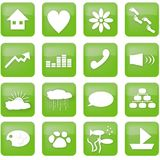 Green lifestyle buttons. A set of illustrated icons, RSS icon style. Includes a house, heart, flower, footsteps, paw print, arrow, equalizer, handset Royalty Free Stock Photo