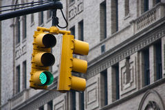 A green light. In the city royalty free stock photo