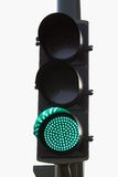 Green light. A green traffic light with clear background Stock Photography