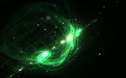 Green light and abstract shapes over black background Stock Images