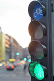 Green light for bicycle traffic Royalty Free Stock Images