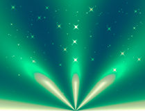 Green light bokeh and silver light beam abstract background Royalty Free Stock Photography