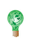 Green light bulb. This is .jpg of a vector image. The vector image is green light bulb filled with flowers, vines, and a butterfly Stock Image