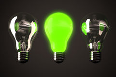 Green light bulb Royalty Free Stock Photos