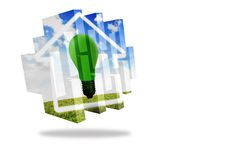 Green light bulb on abstract screen Royalty Free Stock Photo
