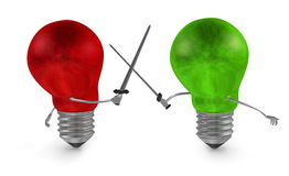 Green light bulb fighting duel with swords against red one. On white Stock Image