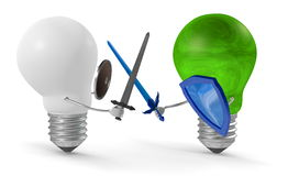 Green light bulb fighting duel with swords and shields against white one. Isolated on white Royalty Free Stock Image