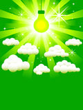 Green light bulb. On a green background, surrounded by clouds and stars stock illustration
