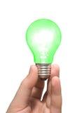 Green light bulb in hand Stock Photo