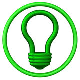 Green light bulb icon 3d Royalty Free Stock Images