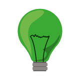 Green light bulb icon with filaments. Illustration Royalty Free Stock Photos
