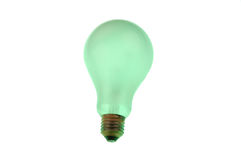 Green light bulb isolated over a white background Royalty Free Stock Photo