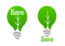 Green light bulb with leaf icon Stock Photography