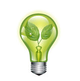 Green light bulb with leaf  on white Royalty Free Stock Image
