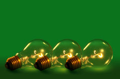 Green light bulbs Stock Image