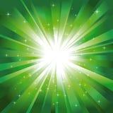 Green light burst with stars Royalty Free Stock Photos