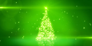 Green light christmas tree Royalty Free Stock Photo