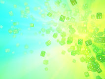 Green Light Dice. Colored light 3d dice pile abstract, horizontal background Royalty Free Stock Image