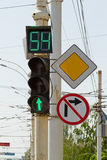 Green light - display with a countdown Stock Photography