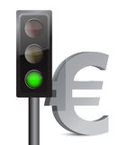 Green light on euro concept. Illustration design over white Royalty Free Stock Images