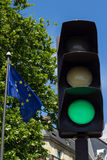 Green light and European Union flag Stock Photo
