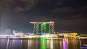 Green light form Marina Bay Sands in Singapore. Stock Image