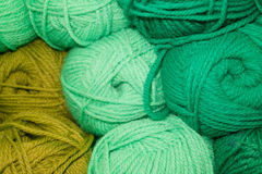 Green, light green, color of mustard wool. Many woolen yarn green, light green and mustard color, rich texture stock photos