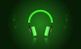 Green light headphone vector Stock Photos