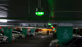 Green light in parking lot. Green light over vacant lot for parking stock photography